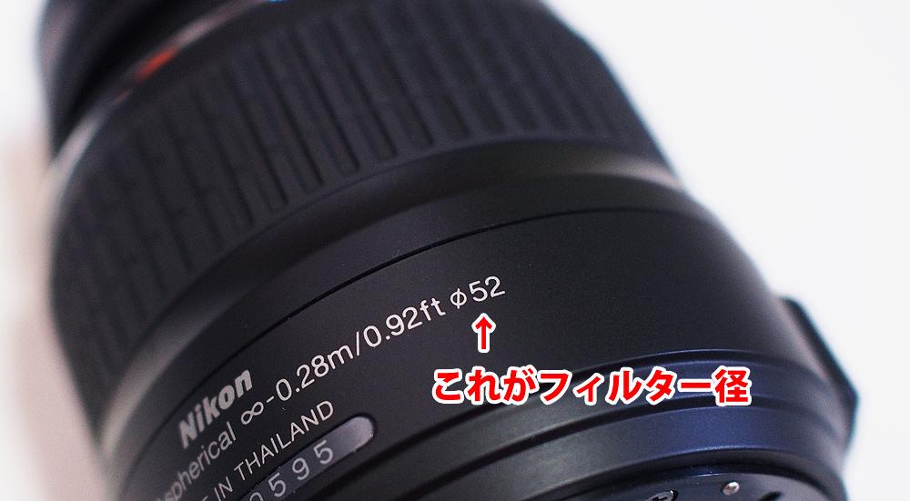 フィルター径の見方、レンズフィルター・レンズキャップの選び方