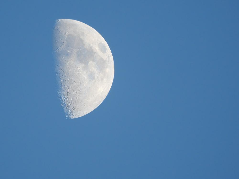 青空に上弦の月 超望遠で撮影 岐阜