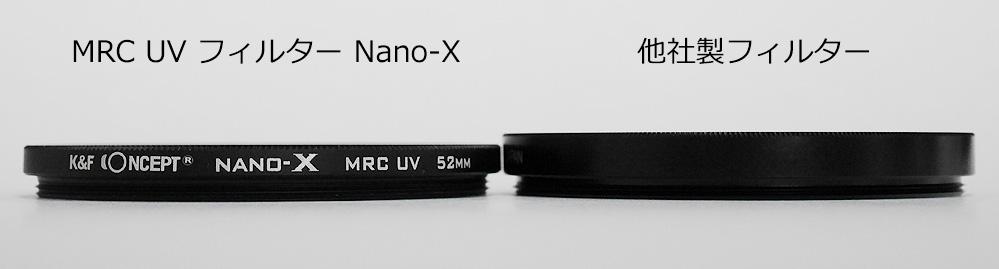 MRC UV フィルター Nano-X 厚さ比較