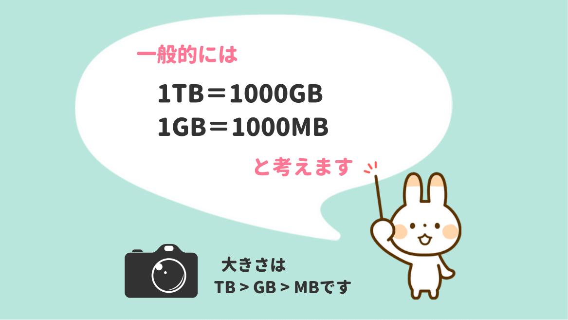 1TB=1000GB 1GB=1000MB
