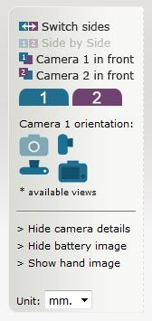 「CameraSize.com」サイドメニュー