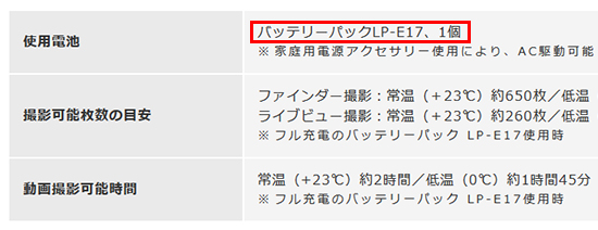 キヤノンKiss X9 バッテリー LP-E17