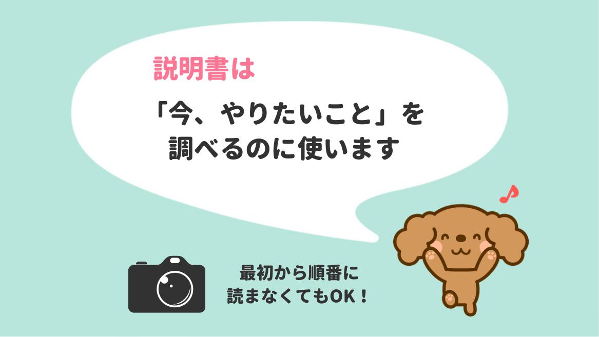 カメラの使用説明書(マニュアル)の使い方