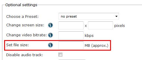 「Set file size」の設定