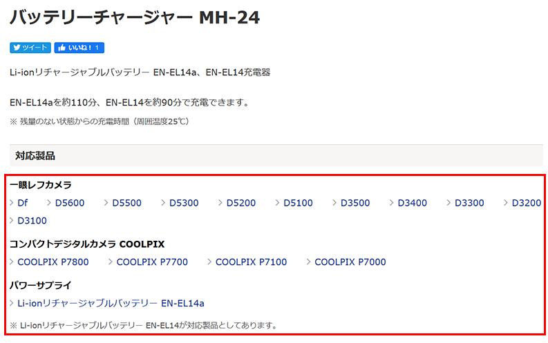 Nikonの一眼レフ用「バッテリーチャージャーMH-24」の商品説明欄